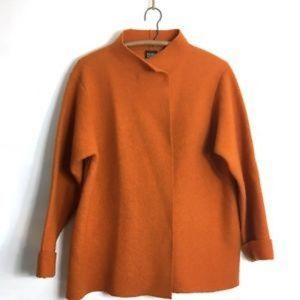 Eileen Fisher Orange Spice Boiled Wool Funnel Neck